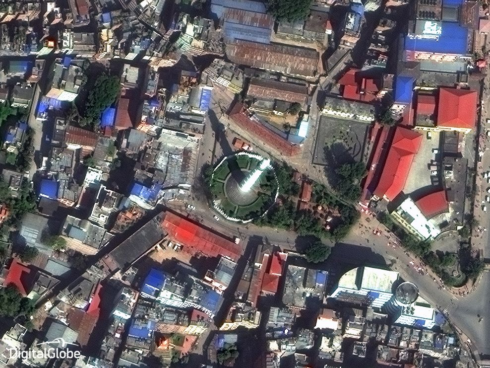 Dharahara Tower in Kathmandu Nepal as seen from DigitalGlobe WorldView-3 on 25-October-2014