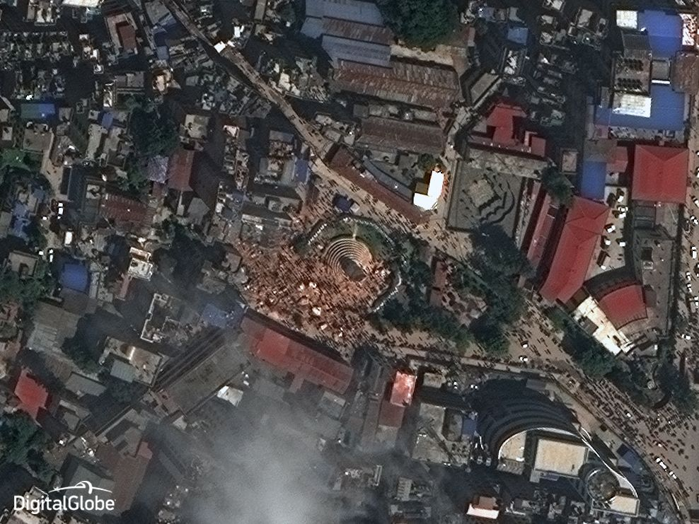 Kathmandu's Historic Dharahara Tower Reduced to Rubble as seen from DigitalGlobe WorldView-3 on 27-April-2015