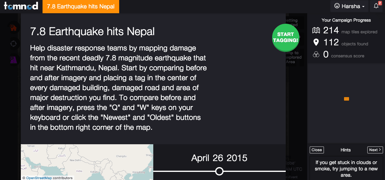 Tomnod has activated the mapping project to identify disaster from Nepal earthquake