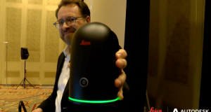 Burkhard Boeckem, CTO of Leica Geosystems with BLK360 Laser Scanner at Autodesk University 2016