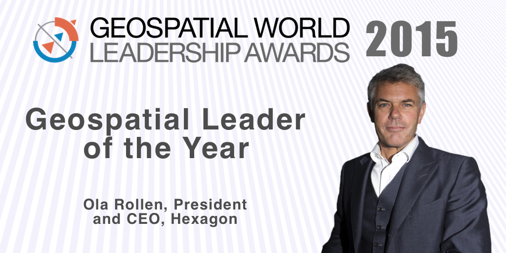 Ola Rollén, president and CEO of Hexagon, has been named 2015's Geospatial Business Leader of the Year