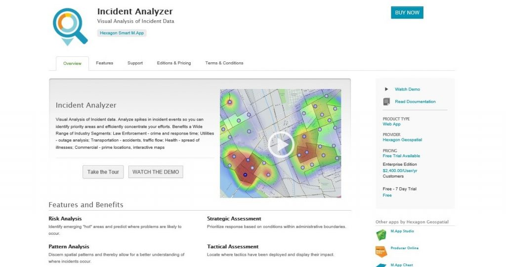 Hexagon Geospatial has launched Incident Analyzer that facilitates the analysis of a variety of incident events such as crimes, accident locations, traffic flow, disease outbreaks, etc.