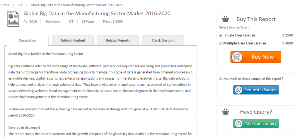 Technavio has published a report on Global Big Data Market to soar at a CAGR of 16.87% by 2020