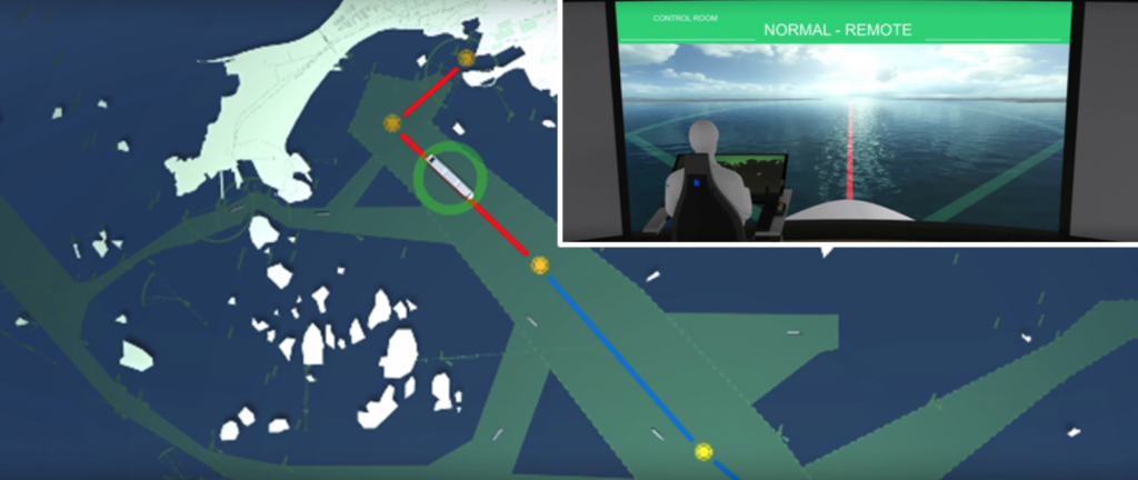 Map showing the current location of the ship in a Supervisory teleoperation mode of autonomous vessel - © Rolls-Royce plc.
