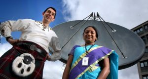 University of Dundee team up with Antrix Corporation, the commercial arm of ISRO to recieve data from satellites for environmental data. Picture shows; Paul Crawford from University of Dundee and Sailaja Poduri from ISRO.