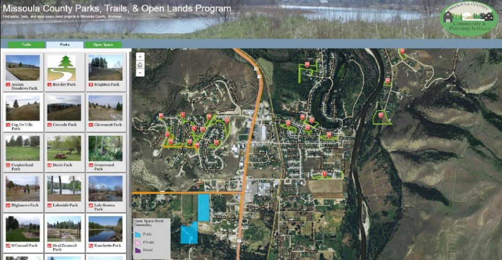 A newly launched online map tool of a US County shows directions to public recreational areas