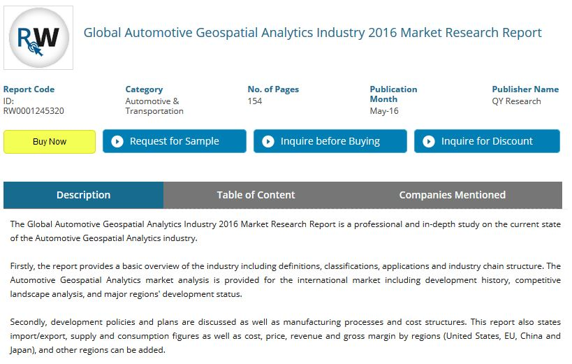 "QY Research has published its ""Global Automotive Geospatial Analytics Industry 2016 Market Research Report."""
