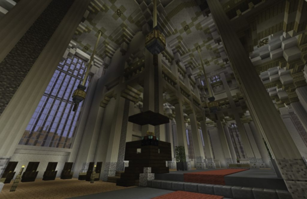 Figure 4: Gothic architecture mimicked in Geocraft: the interior of the Eusebius church (Arnhem, The Netherlands)