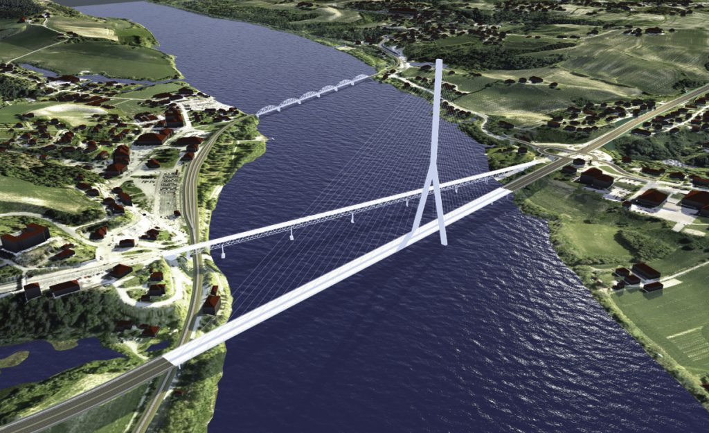 InfraWorks 360 image of Norwegian Public Roads Administration highway expansion and bridge over the Glomma River