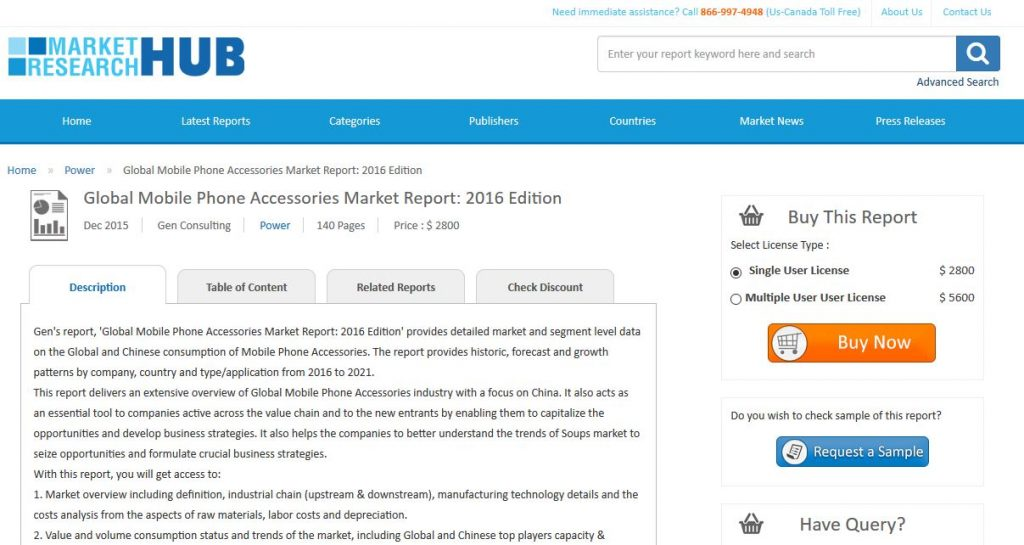 Gen Consulting adds Global Mobile Phone Accessories Market report to their offering