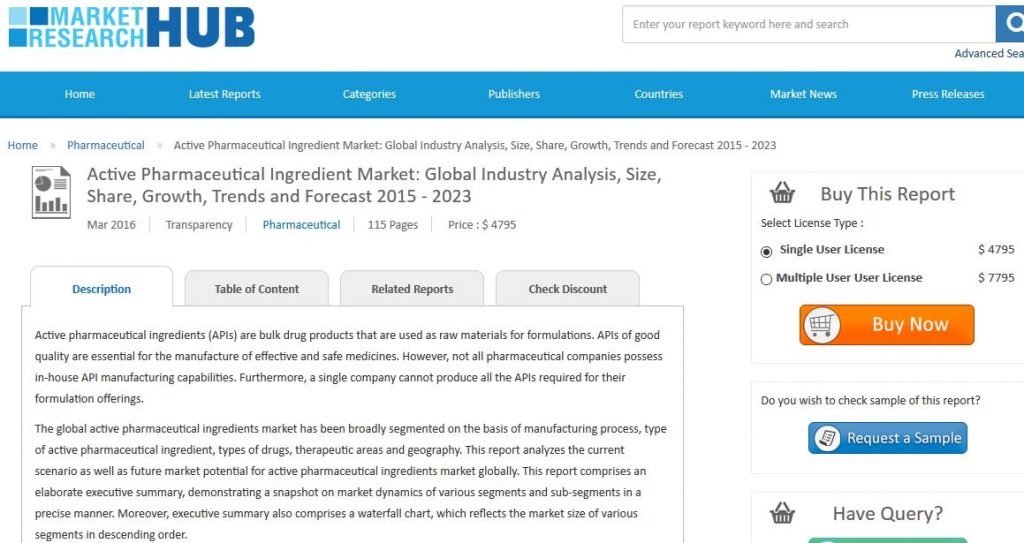 """Transparency Market Research has published a new market report titled, """"Active Pharmaceutical Ingredient Market: Global Industry Analysis, Size, Share, Growth, Trends and Forecast 2015 - 2023."""