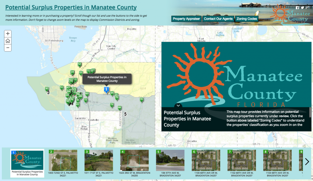 Manatee County government is using GIS story map available on the county's website to highlight the potential surplus properties
