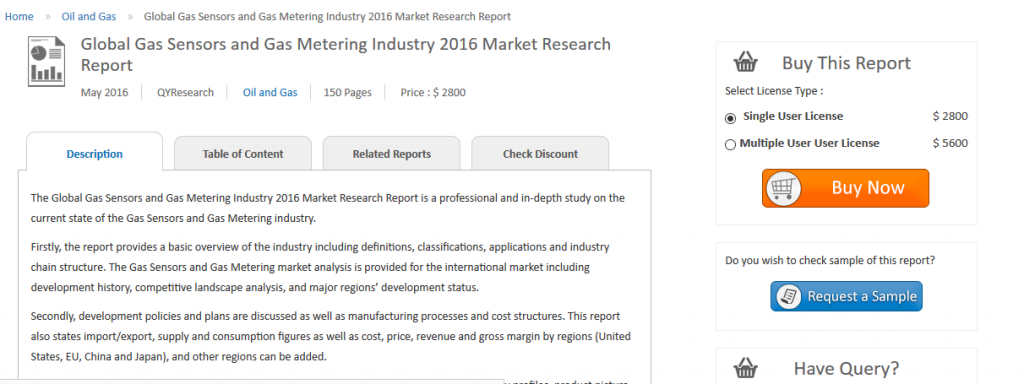 """QYResearch has added a research on """"Global Gas Sensors and Gas Metering Industry Report"""" to their offering"""