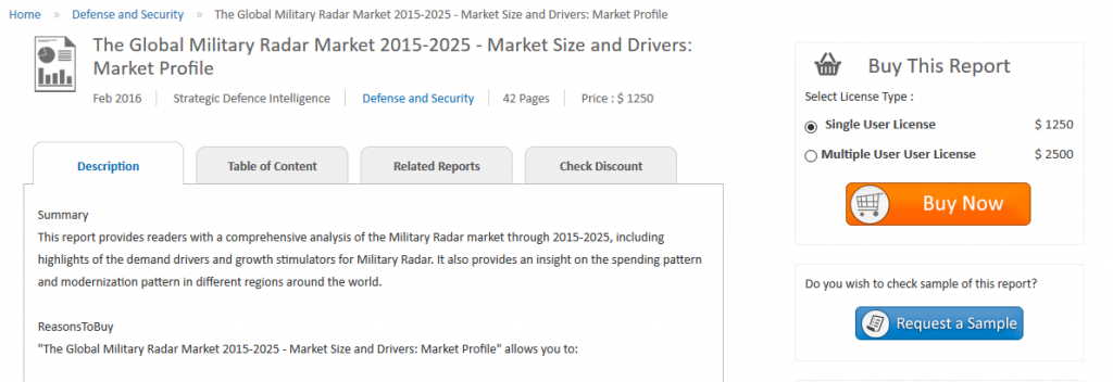 The report predicts an increase of $15.7 billion in the global military radars market