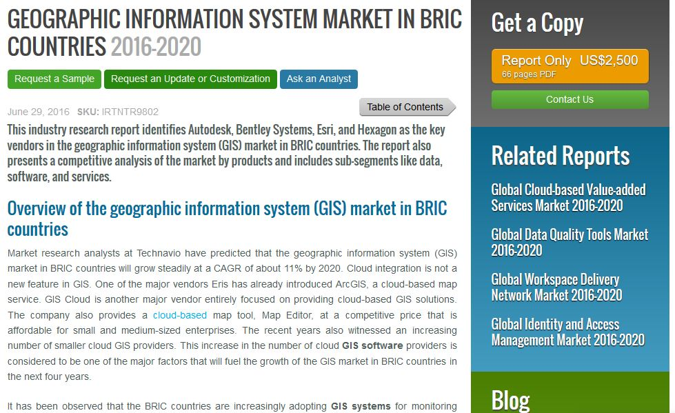 Technavio announces list of top 14 vendors in GIS Market in BRIC Countries