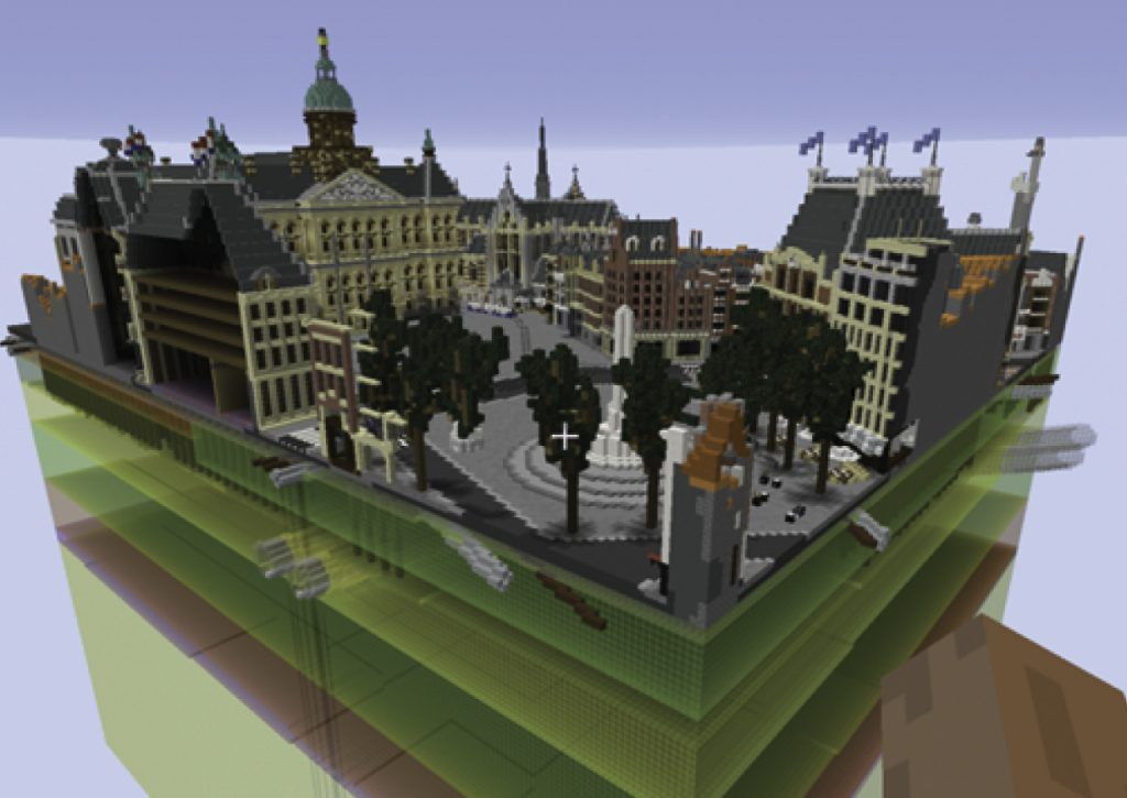 Figure 1.1: The Dam Square in Geocraft, including the underlying stratigraphy. Amsterdam is build on Holocene and Pleistocene sediments, basically alternating layers of sand (yellow), clay (green) and peat (brown)