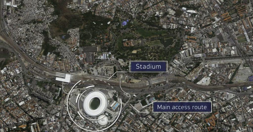 Maracanã Stadium in Rio de Janeiro, Brazil as seen through satellite imagery of DigitalGlobe