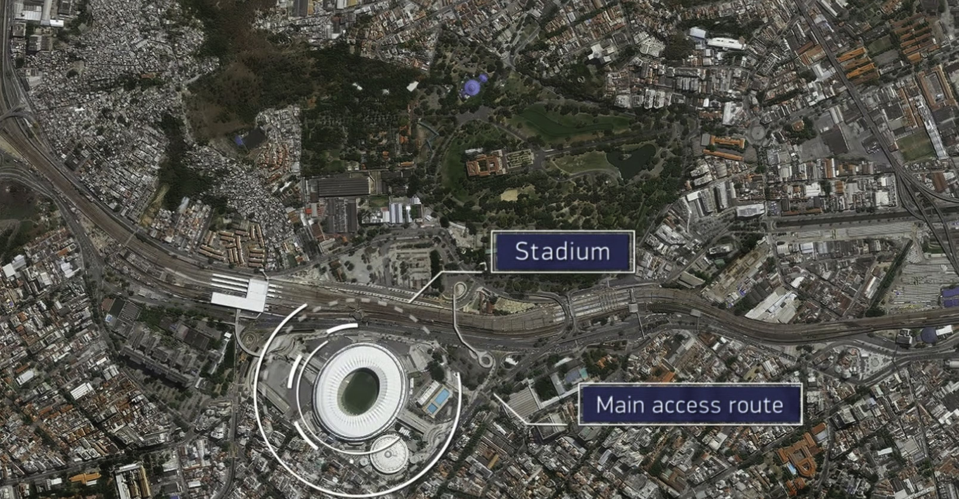 Maracanã Stadium in Rio de Janeiro, Brazil as seen through satellite imagery of DigitalGlobe