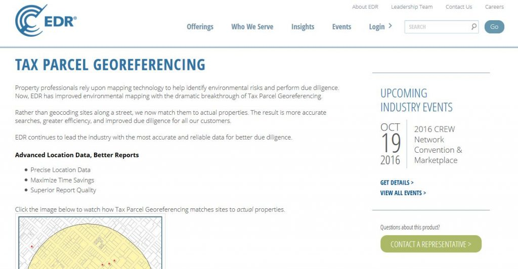 EDR has released Tax Parcel Georeferencing in all of its mapping products, which increases the accuracy and precision of mapping environmental information across the United States.