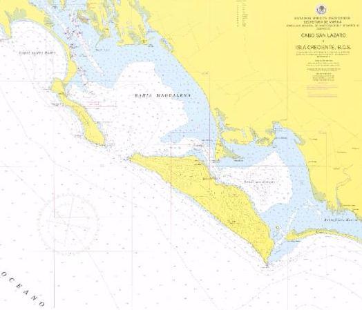 1:100,000 scale SEMAR Nautical Chart of Magdalena Bay, Mexico