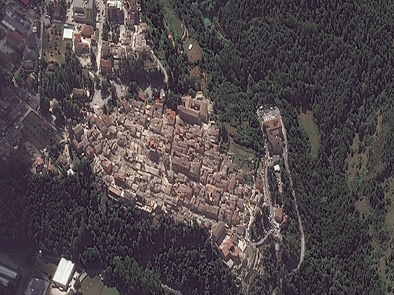 Image taken by WorldView-2 of Amatrice, Italy, on 24 August 2016, 10:21 am (UTC). Image credits: European Space Imaging