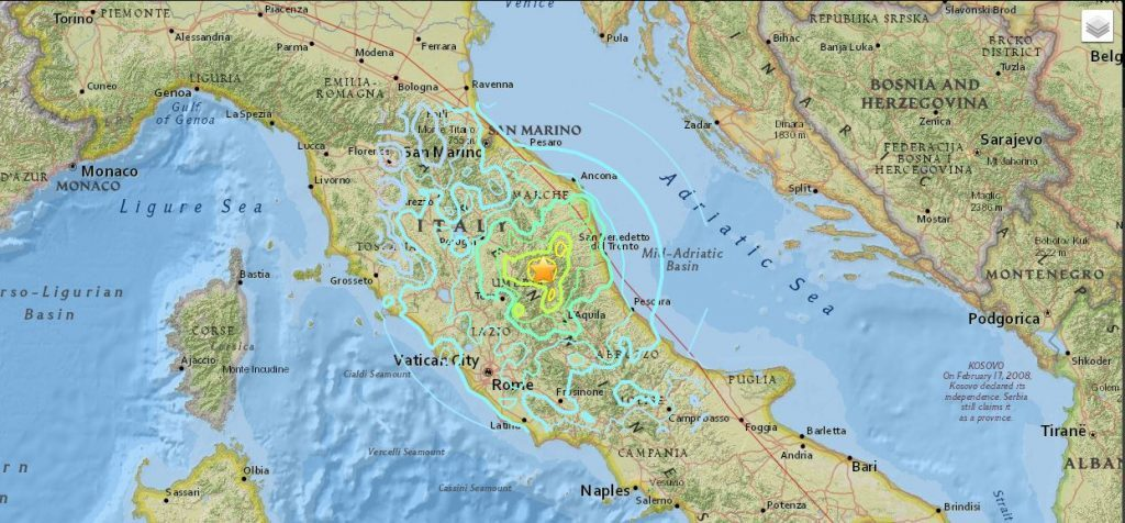 The map shows the earthquake impact in all of Italy. Photo courtesy: USGS