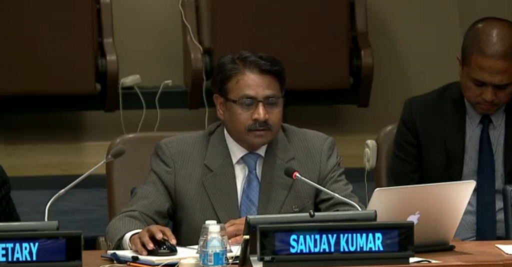 CEO of Geospatial Media and Communications, Sanjay Kumar addressing a meet on UNGGIM on forming a PSN.