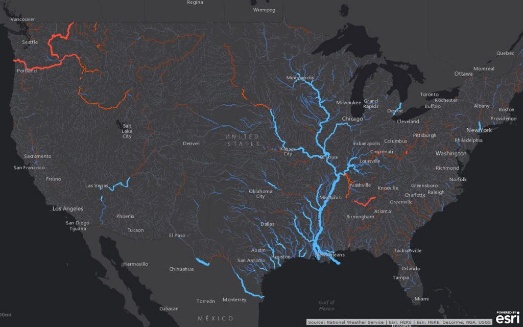Esri has released a robust collection of web maps that display NOAA forecast stream flow data for the continental United States.