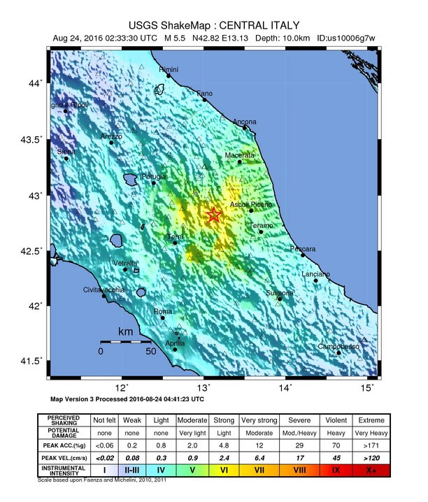 The map shows the intensity of the earthquake at the epicenter, near Norcia, Italy. Photo courtesy: USGS.