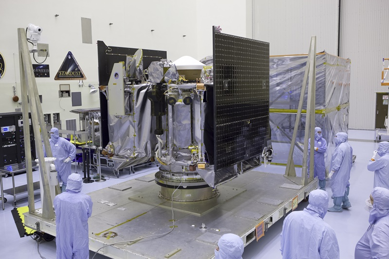 The asteroid-mapping OSIRIS-REx craft, shown undergoing final checks in May 2016 before it was integrated into an Atlas V rocket assembly. The seven-year mission is slated for launch from Florida on September 8.