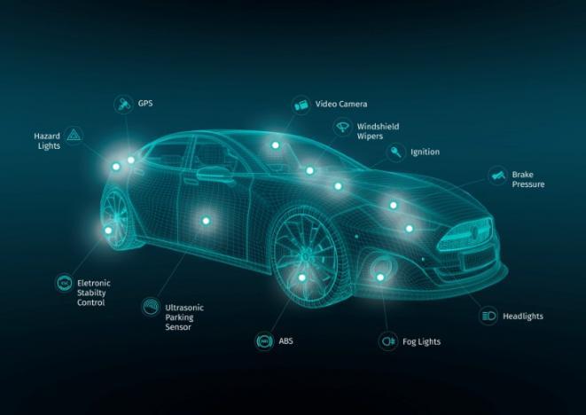 A graphic depicts the range of sensor information on a car feeding the HERE real time traffic services.