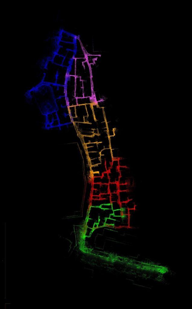 Slum map in India Mumbai identifying homes created using hand-held LiDAR GeoSLAM ZEB-REVO