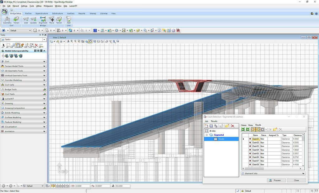 Mitigate risk with OpenBridge Modeler by performing conflict analysis of the bridge structure with existing infrastructure to save time, eliminate building errors, and reduce project costs. View clashes in 3D or in table format. Check for required minimum clearances between adjacent structures and roadways.