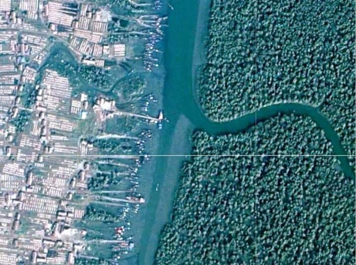 A satellite image of one of the fish processing plants on Dubla Island. Photo Credit: Professor Kevin Bales