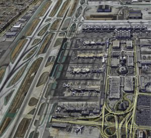 Aerial view of LAX. The airport handled nearly 615,000 takeoffs and landings in 2013