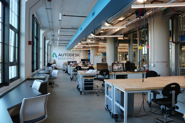 Partial view of the second floor of the Autodesk BUILD Space.
