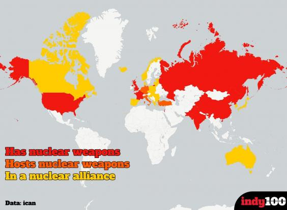Map developed by Statista, shows areas in red, orange, and yellow, to mark countries that have nuclear weapons, countries that host nuclear weapons, and that who are in an alliance with nuclear superpowers respectively. (Photo Credits: indy100)