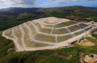 An aerial view of the Ordot Dump located in Chalan Pago-Ordot municipality, United States Territory of Guam.