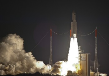 An Ariane 5 ES rocket launched with four Galileo satellites from the European Spaceport in Kourou, French Guiana on Thursday.