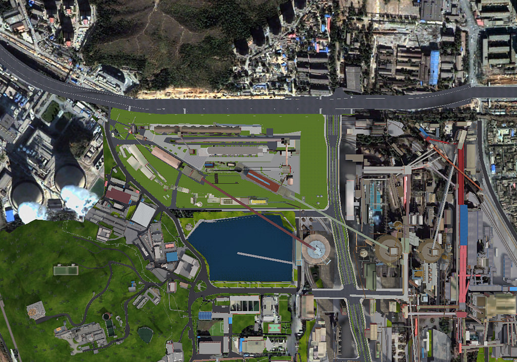 Xishi Winter Olympics Square showing Shougang industrial area transformation from above. Image Attribution: Beijing Shougang International Engineering