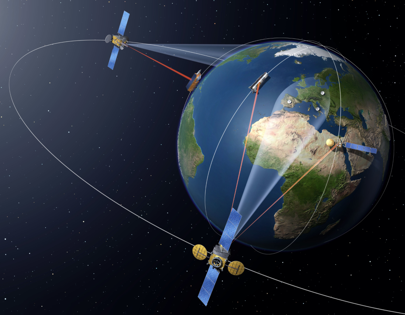 Laser technology developed by Tesat Spacecom, the SpaceDataHighway can transfer high-volume data from Earth observation satellites, airborne platforms, or even from the International Space Station.