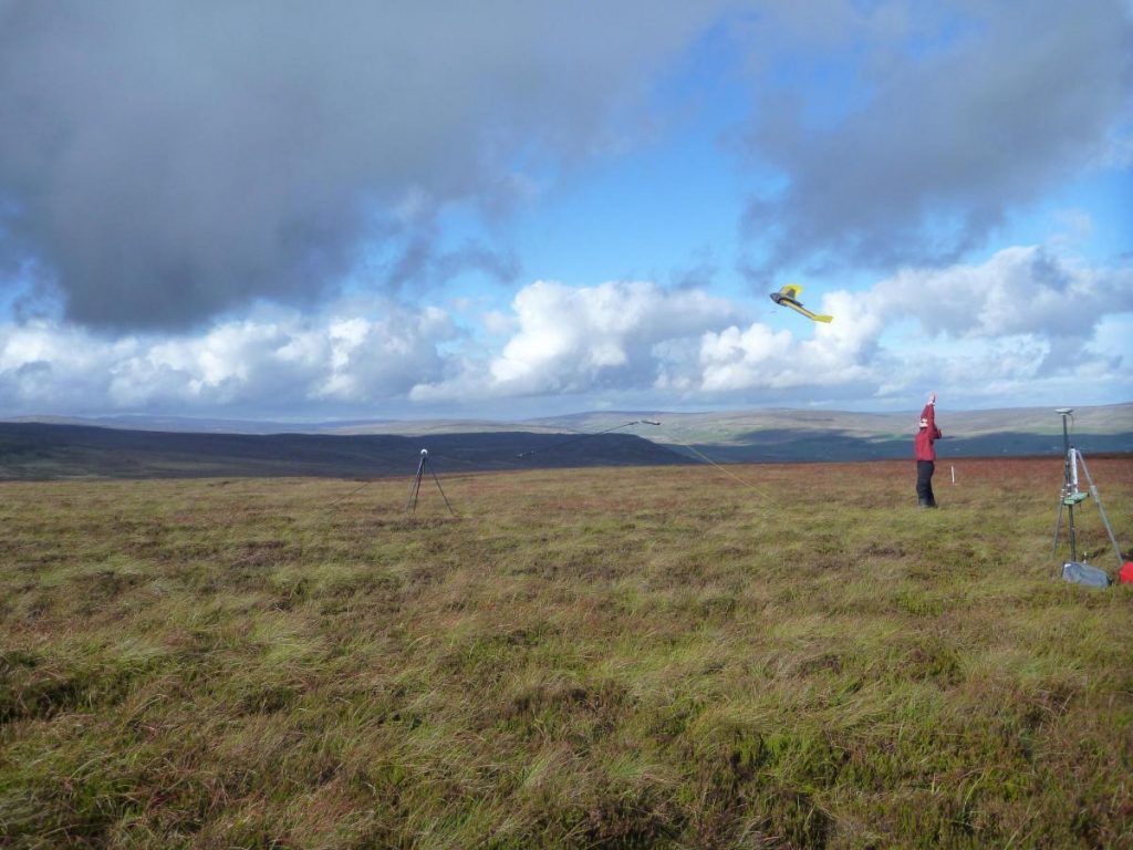 A drone being used in Lunedale to identify area of damaged peatland.