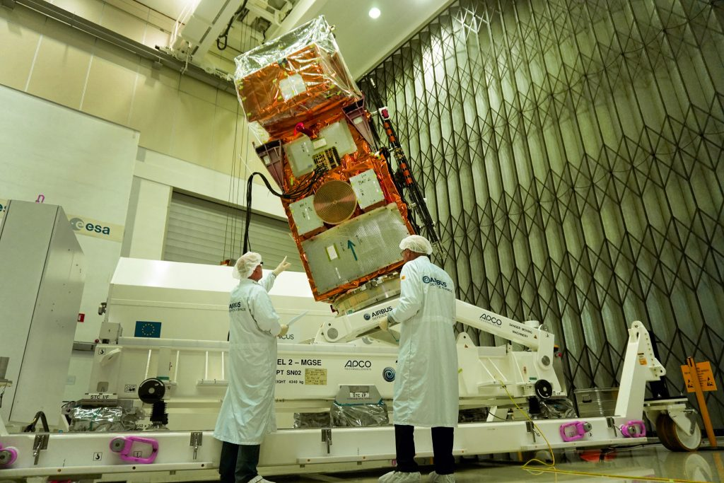 ESA´s Sentinel-2B satellite for European Copernicus Programme built by Airbus Defence and Space (Friedrichshafen, Germany)