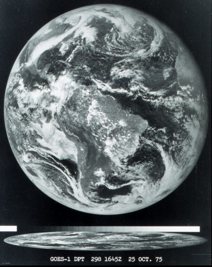 The first image obtained from the GOES 1 satellite,