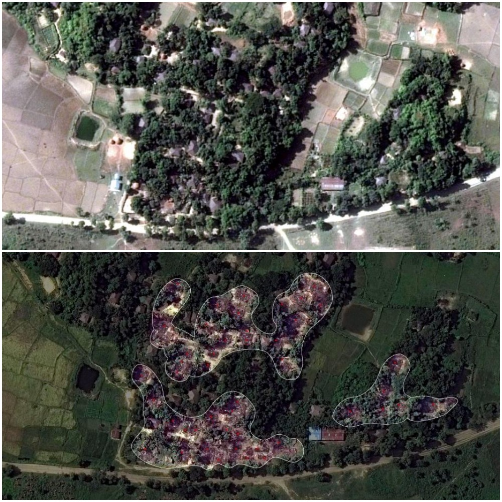 Above: Image shows villages before torching; Below: the image highlights the torched villages.