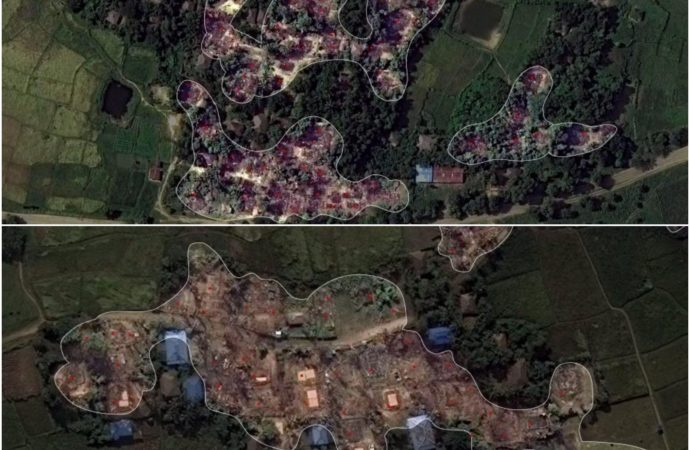 A set of satellite imagery released on Sunday have revealed that three of the Rohingya villages in western Myanmar have been torched as fresh fighting flared in the strife-torn region.