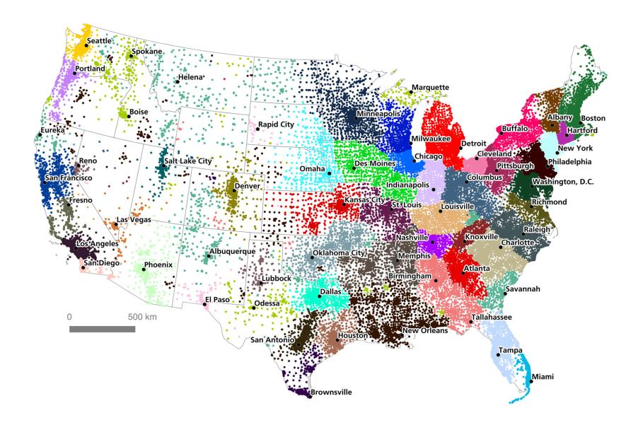 The map shows various megaregions of the U.S. based on an algorithmic analysis of four million commutes.