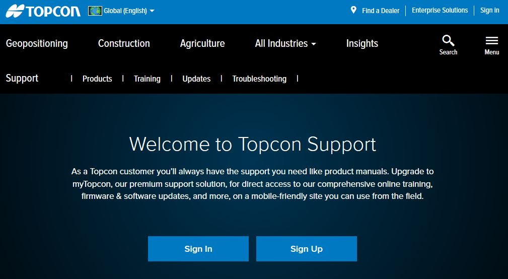 Topcon Positioning Group has announced the launch of its myTopcon support and training site.