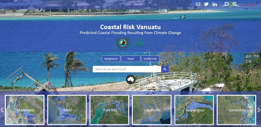 Developers from Australia's NGIS and CRCSI have created a coastal risk webtool for Pacific island nation – Vanuatu – that will help coastal residents of Vanuatu to understand and act in situations like rising sea levels or coastal flooding.