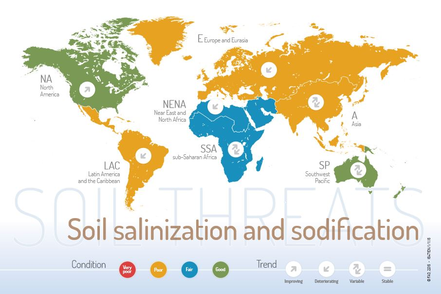 World Map Water.Fao Publishes Maps Of Soil Threats On World Soil Day Geospatial World